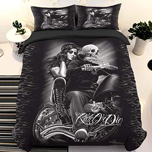 Juego de cama con calavera Juego de funda nórdica con estampado 3D Ride or Die con 2 fundas de almohada Juego de cama con cierre de cremallera Juego de funda de edredón de microfibra suave 220*230cm