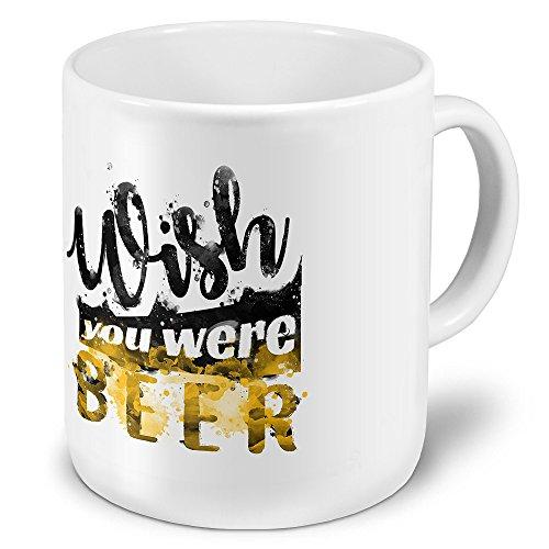 printplanet XXL Riesen-Tasse mit Spruch: Wish You were Beer - Kaffeebecher, Sprüchebecher Becher, Mug