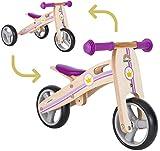 BIKESTAR 2 in 1 Bicicleta sin Pedales Madera para niños y niñas Bici Ajustable 7 Pulgadas | Bicicleta y Triciclo Mini a Partir de 1-1,5 años | 7' Edición Sport Violeta