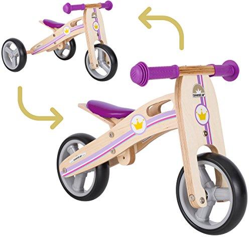 BIKESTAR Mini Kinder Laufrad Holz Lauflernrad mit DREI Rädern für Jungen und Mädchen ab 1 – 1,5 Jahre | 2 in 1 Kinderlaufrad | Kleine Prinzessin | Risikofrei Testen