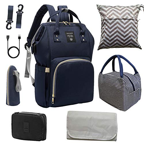Diaper Bag Set, ERGO QUEEN Multifunction 8-in-1 Baby Care Backpack for Mom Dad, Large Capacity, Unisex Travel Back Pack, Waterproof Nappy Bags, Baby Nursing Organizer, Navy