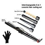 QJXF Curling Iron, 5 En 1 Curling Wand Set con 5 Barriles De Cerámica Intercambiables Y Guantes De Protección contra El Calor, Tapón Antichispas, Negro