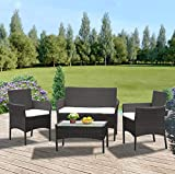 Panana Rattan Garden Furniture 4 Piece Set Table Sofa Chair Patio Outdoor Conservatory