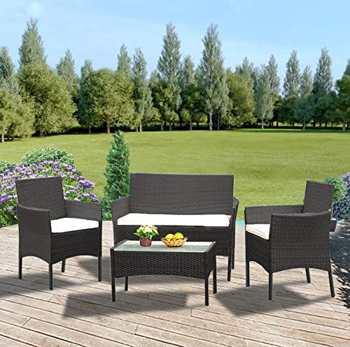 Panana Rattan Garden Furniture 4 Piece Set Table Sofa Chair Patio Outdoor Conservatory Indoor Black