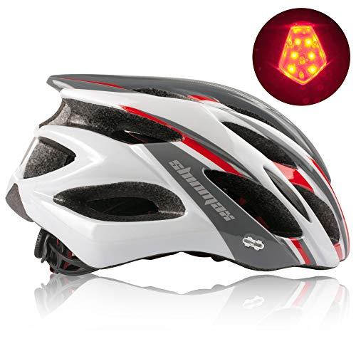 Shinmax Casco Bici,Casco Bici Uomo con Visiera,Casco da Ciclismo Luce di LED Rimovibile,Casco Leggero da Bicicletta per Uomo e Donna Protezione Stradale per Biciclette,Casco Bici da Corsa 57-62CM