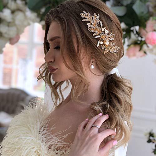 TOPQUEEN Gold Perle Strass Braut Haarkamm Hochzeit Haarschmuck Tiara Diadem, Schmetterlinge (HP14)