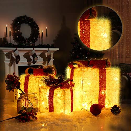 CCLIFE 3 cajas de regalo led decorativas con luz LED,cajas preiluminadas para decoración navideña,...