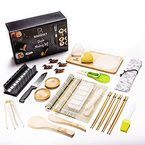 BRODEVET - Kit completo de sushi 2021, 28 piezas, incluye guía práctica, sushi Kit profesional, sushi para principiantes, con salvamanteles, palillos, 29,3 x 9,8 x 20,2 cm.