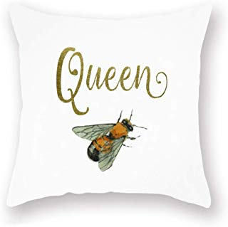 Smilyard Golden Queen Quote Word Pillow Covers Oil Painting Animal Bee Pattern Throw Pillow Case Cushion Cover White Super Soft Couch Decorative Pillow Cover 18x18 Inch (Bee 01)