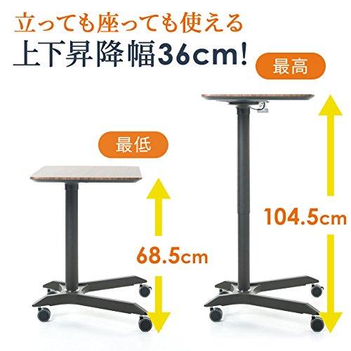 サンワダイレクトスタンディングデスクガス圧昇降式幅71.5×奥行50cm高さ68.5~104.5cmキャスター付き耐荷重15kgパソコンデスク木目100-ERD008M