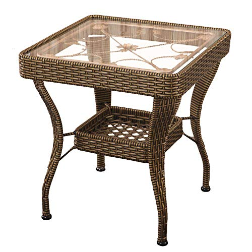 Glass Tea Table Balcony Rattan Coffee Table Outdoor Garden Living Room Sofa Table Square Leisure Home Table Corner Side End Table Storage Rack Hotel Bedroom Bed End Table-Cream Col