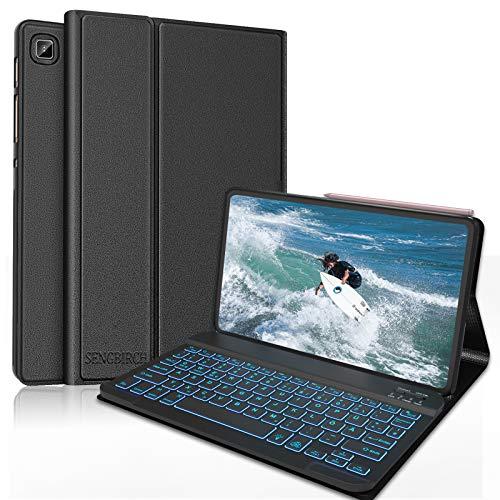 SENGBIRCH Beleuchtet Tastatur für Samsung Galaxy Tab S6 Lite, Bluetooth Tastatur mit Robusten Schutzhülle (Unterstützt das Laden von Bleistiften) für Galaxy Tab S6 Lite 10.4'' (P610/P615) - Schwarz