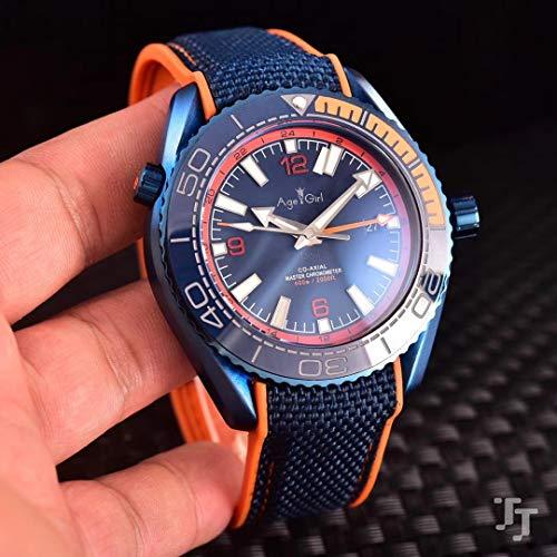 SILZDQP Luxusmarke Männer automatische mechanische GMT rot blau schwarz Keramik Edelstahl Saphir Leinwand Gummi Sportuhr blau