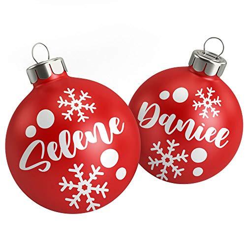 Decorazione Palline Natalizie 5 Nomi Adesivi con 6 Fiocchi 6 stelle e 24 Punti per decorare le Palline Decorazione Natale
