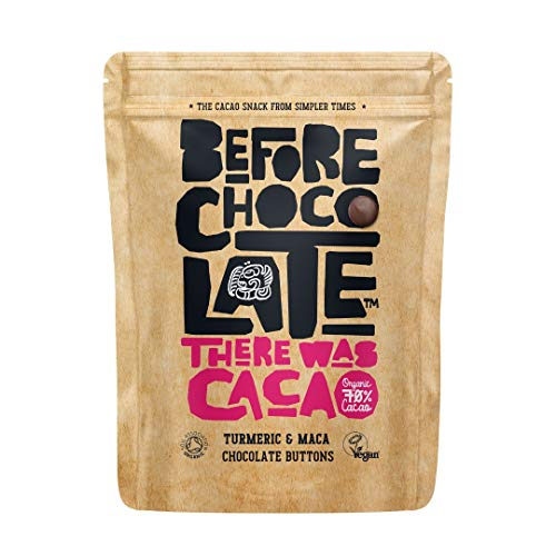 Before Chocolate - Organic Vegan 70% Dark Chocolate Turmeric & Maca Buttons 110g - Dairy, Gluten, Nut & SOYA Free, for Snacking, Baking, Desserts & Breakfasts