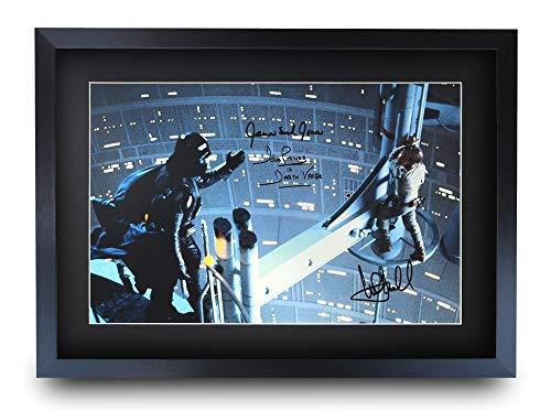 HWC Trading Star Wars A3 Enmarcado Regalo De Visualización De Fotos De Impresión De Imagen Impresa Autógrafo Firmado por David Prowse Mark Hamill James Earl Jones Ventiladores del Cartel De Película