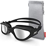 ZIONOR Swim Goggles, G1 Polarized Swimming Goggles UV Protection Leakproof Anti-Fog Adjustable Strap for Adult Men Women (Polarized Silver Lens Black Frame)