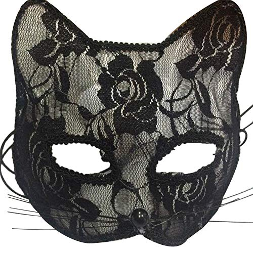 xxiaoTHAWxe Women Sexy Lace Fox Cats Face Eye Mask Halloween Party Dance Role Playing Prop, Couple Adventure Game Set, Adult Game Party Set, for Couple Adult Women Black