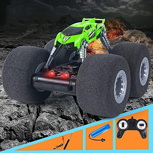 Nsddm 4WD All Terrain Offroad Vehicle, Sponge Super Lirios Grandes Neumáticos Bigfoot Monster Climbing Truck 2.4GHz Control Remoto Coches de Juguete para niños (Color : Verde)