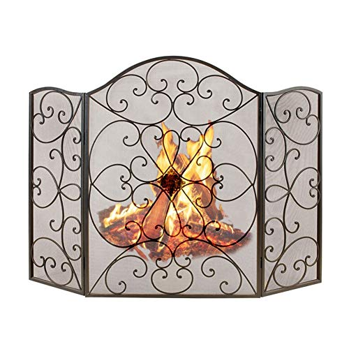 Spark Guard 3 Panels Wrought Iron Fireplace Screen, Outdoor Metal Mesh Decor Cover, Living Room Solid Baby Safety Fire Places Fences Spark Guard (Black)