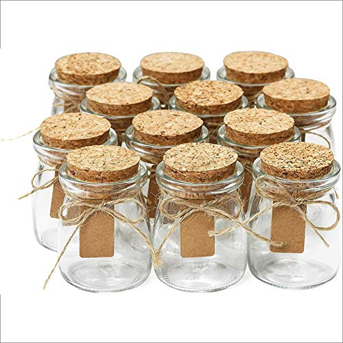 Small Glass Bottles With Cork Lids, Candle Containers - 12pc, 3.4oz Mini Mason Jar for Wedding Favors, Apothecary, DIY Arts Crafts w/Personalized Label Tags & String