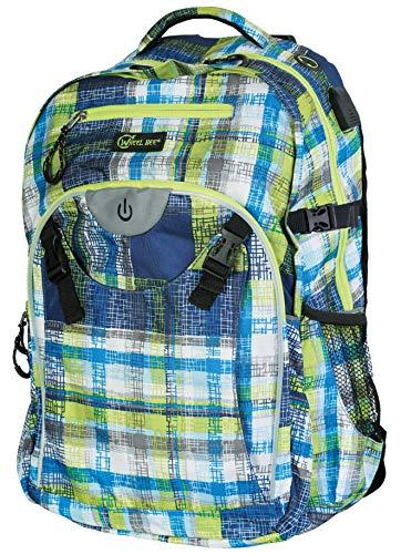 Wheel-Bee LED Licht für Sicherheit und Sichtbarkeit Rucksack, Generation Z - Design: Blue-Green-White, 46x32x20 cm
