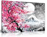 Cuadro de pintura al óleo en blanco y negro con diseño de flor de cerezo japonesa (36 x 24)