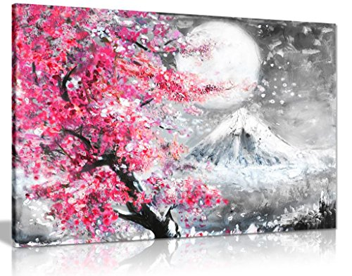 Różowy czarno-biały obraz olejny japoński kwiat wiśni krajobraz płótno sztuka ścienna obraz wydruk (24 x 16)