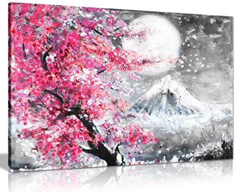 Kunstdruck auf Leinwand, Motiv japanische Kirschblüten, 61 x 40,6 cm, Rosa/Schwarz/Weiß