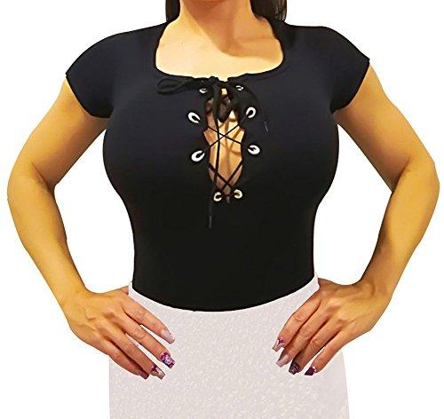 Damesbody met korte mouwen. Body-shirt met korte mouwen om te combineren met rok (Zwarte Schotte)