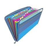 13 Bolsillos Carpeta Clasificadora con Cremallera,Clasificadores Carpetas de Acordeon, Clasificador Documentos,Carpeta Archivadora Plastico A4,Carpetas y Sistemas de Archivo Organizador Papeles (azul)