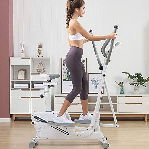 QinWenYan Máquina de Entrenamiento Elíptica Elíptica Entrenador y la Bicicleta estática con Asiento y fácil Ordenador Dual Trainer 2 En 1 Cardio Inicio para Deportes (Color : White, Size : Free Size)
