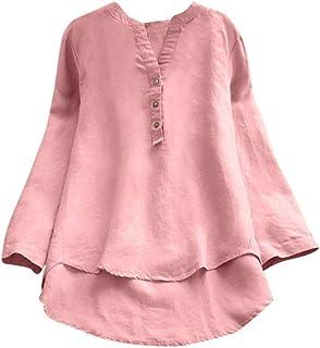 707427a0c1348 Femmes Fille Chemisier T-Shirt à Manches Longues Rétro Coton et Lin Pas Cher  Chic