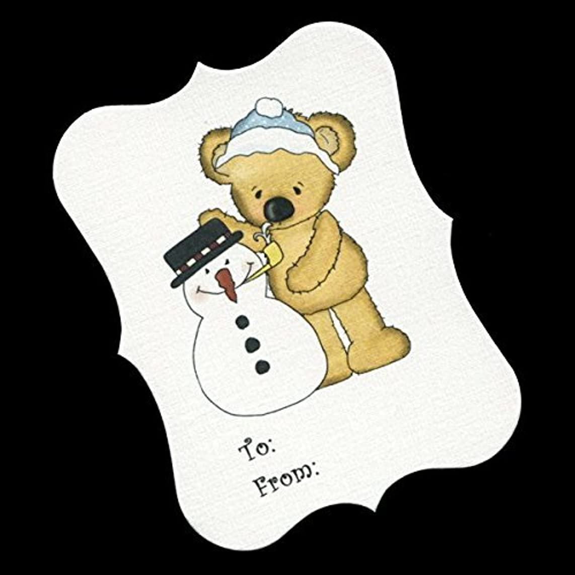 Christmas Gift Tags, Bear With Blue And Hat Snowman