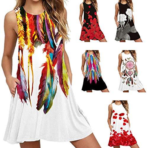 Tirantes sin Mangas de Playa,3D Floral Mini Vestido del Tanque de Bohe,Vestidos Mujer Verano,Vestidos Tallas Grandes, Maternidad Vestidos sin Mangas de Las