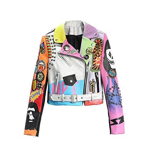 Liandesheng Leather Jacket Women Hip hop Colorful New Spring Ladies Motorcycle Bike Punk Cropped (M)