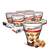 Biscolata Mood Cookies with Chocolate Filling Snacks - Crispy Cookie Shell Filled with Milk Chocolate (Milk, 6 Cups)