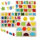 Wooden Puzzles for Toddlers, Aitinake Wooden Alphabet Number Shape Puzzles Boards Toddler Preschool Learning Toys ABC Letter Jigsaw Puzzle for Kids Boys Girls Ages 2 3 4 5 6 (Set of 3)