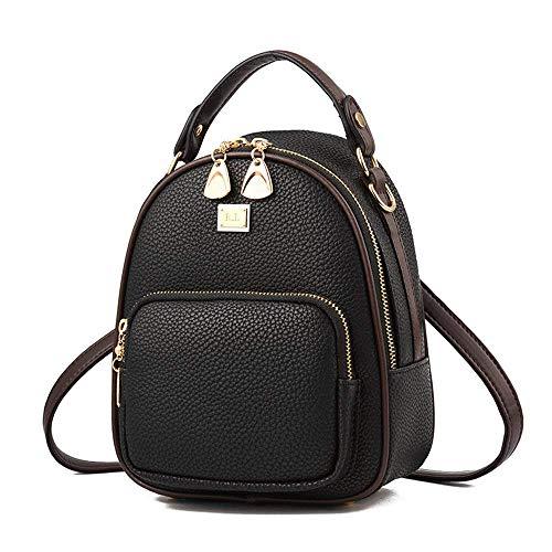 Gashen Women's Mini PU Leather Backpack Purse Casual Drawstring Daypack Convertible Shoulder Bag (black)