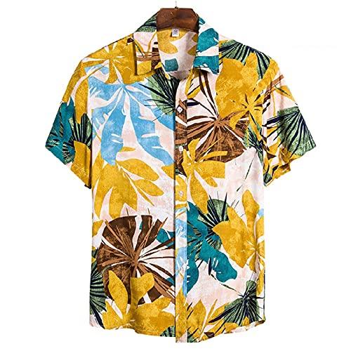 SSBZYES Camisas De Hombre Camisas De Verano De Manga Corta Camisetas De Hombre Camisas De Talla Grande Camisas De Algodón Manga Corta con Solapa Camisas Casuales