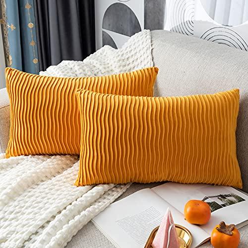 Yamonic Fundas de cojín de 2 Piezas 30x50cm Decoración Almohada Caso de la Cubierta Decorativo para Sofá Cama en Casa, Amarillo