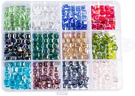 PH PandaHall 360pcs 12 Colors Plated Faceted Cube Electroplate Glass Beads for Necklace Jewelry product image