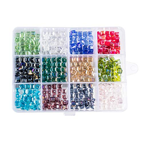 PH PandaHall 360pcs 12 Colors Plated Faceted Cube Electroplate Glass Beads for Necklace Jewelry Making (6 x 6mm, Hole: 1mm)