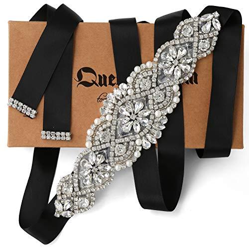 QueenDream Bridal Sash Rhinestone Belt with Black Ribbon for Wedding and Evening Dress bridesmaid dress