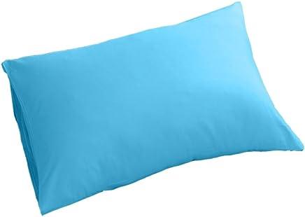 Kesoto コットン製 シングル ピローカバー 枕カバー 純色 シンプル 1ペア入り 全12色 - ブルー