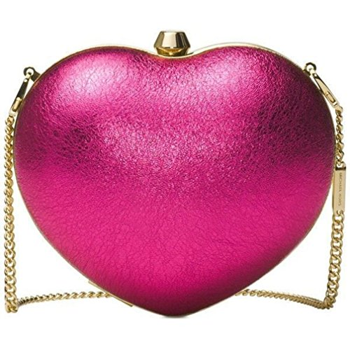 "New Michael Kors Pearl Small Heart Box Clutch Ultra Pink Product Details Leather  Metallic crackle leather  Gold-tone hardware  Clasp closure  Interior lining  Approx. 6"" x 4.75"" x 2""  22.5"" handle drop"