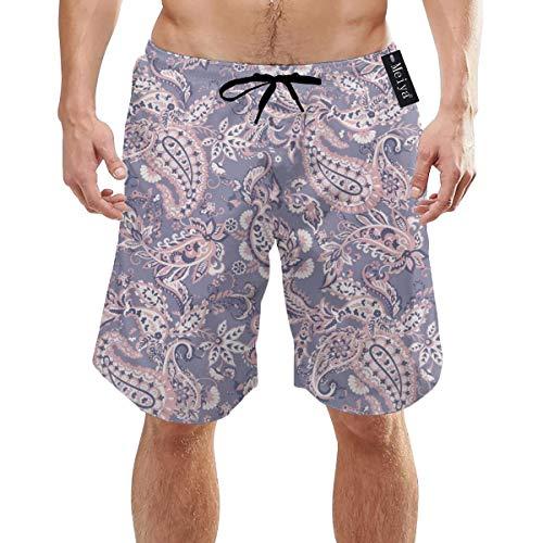 Ye Hua Paisley Pattern Bunte Blumen Hintergrund Herren Badehose Sommer Cool Quick Quick Dry Boardshorts Badeanzug mit Seitentaschen Mesh Futter XXL