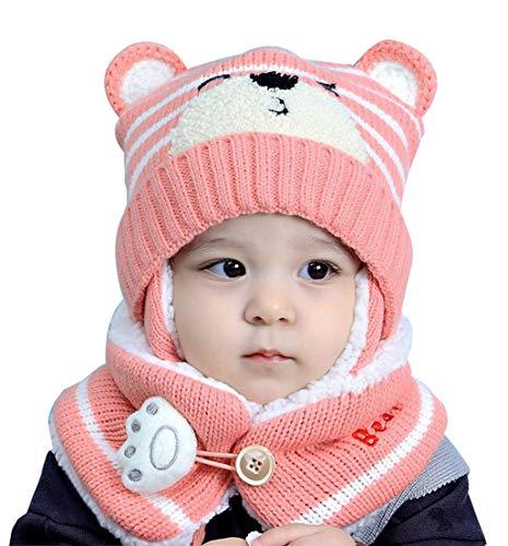 FEOYA Ensemble Bonnet et Tour de Cou Bébé Hiver Fille Garçon Set Bonnet Laine Bébé Echarpe Chaud pour Bébé 6-36 Mois Cadeau Bébé Rose