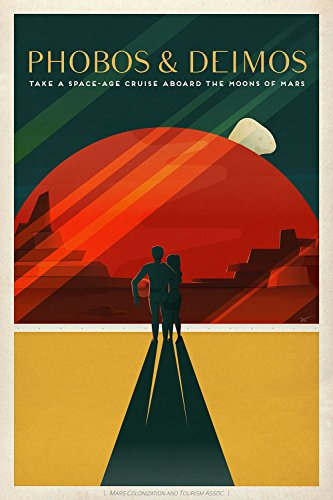 Spiffing Prints SpaceX Mars Tourism Poster for Phobos and Deimos - Large - Matte Print