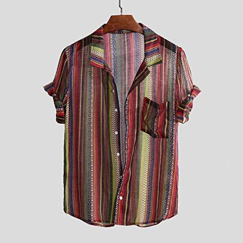 Sommer Herren Casual Digital Print Kurzarm T-Shirt Shirt Komfortabel Atmungsaktiv Kurzarm Shirt,Red,M